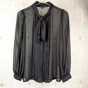 Banana Republic Neck Tie Sheer Blouse Black Sz 4